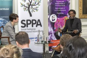 Social Pedagogy Professional Association Launch Event that took place on the 21st February 2017 at 10 - 11 Carlton House Terrace. Lemn Sissay MBE, British Poet Chancellor of Manchester University and Professor Becky Francis, Director, UCL Institute of Education.